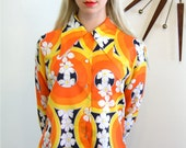 Vintage 60s Mod Op-Art Pattern Blouse Yellow Orange Black & White Print Long Sleeve Huge Butterfly Collar Shirt Retro 1960s MAD MEN Top