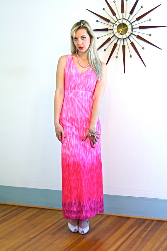 Vintage 70s LESLIE FAY Maxi Dress Bright Pink Ombre Empire Waist A-Line Cut Sleeveless Long Floor Length Sexy Mad Men Era 1970s Gown