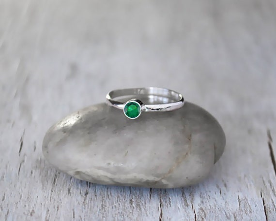emerald stacking ring sterling silver emerald by