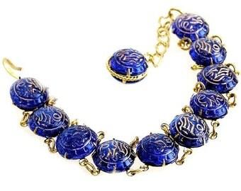 Cobalt Glass Engraved Bracelet