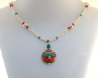 Red Turquoise and Cream Necklace - Golem Studio Necklace - Stoneware Necklace - Beaded Necklace - Silver Necklace - Antique Silver Necklace