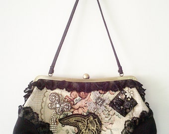 black upcycled bag, vintage inspired purse, bird applique bag, black steampunk purse, black handmade purse