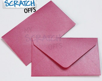 "Mini Envelopes 50 Metallic Hot Pink 2.5 x 4.25"" Mini Envelopes Wedding Favors Lottery Ticket  Lotto Shower Baby Scratch Matte"