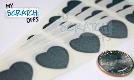 Scratch Off 100 Silver 1 inch Heart scratch-off labels Plain stickers for games and promotions