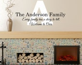 Every Family Has A Story To Tell, Welcome To Ours Personalized Custom Name Quote Vinyl Wall Decal