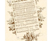 If I Could Hear My Mother Pray Again - 8x10 Antique Hymn Art Print Natural Parchment Sepia Brown Sheet Music Vintage Verses Mothers Day Mom