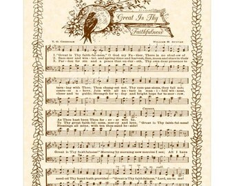 GREAT Is THY FAITHFULNESS - Hymn Art - Custom Christian Home Decor - VintageVerses Sheet Music - Inspirational Wall Art - Morning Mercy