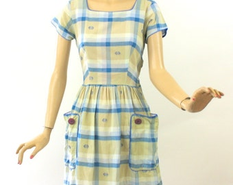 Vintage 50s Day Dress by Paintset Fashions Blue & Tan Plaid Cotton Dress Full Skirt Large Pockets Bust 38
