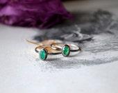 Your Custom Emerald Gemstone Silver Rustic Stacker Ring