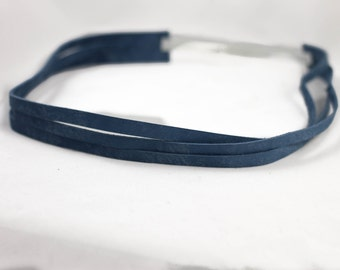 Headband- Blue Sliced Leather Headband