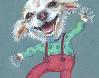 Clown Puppy - dogs drawing - dog drawing -Colored pencil and pastels drawings / lady dog art