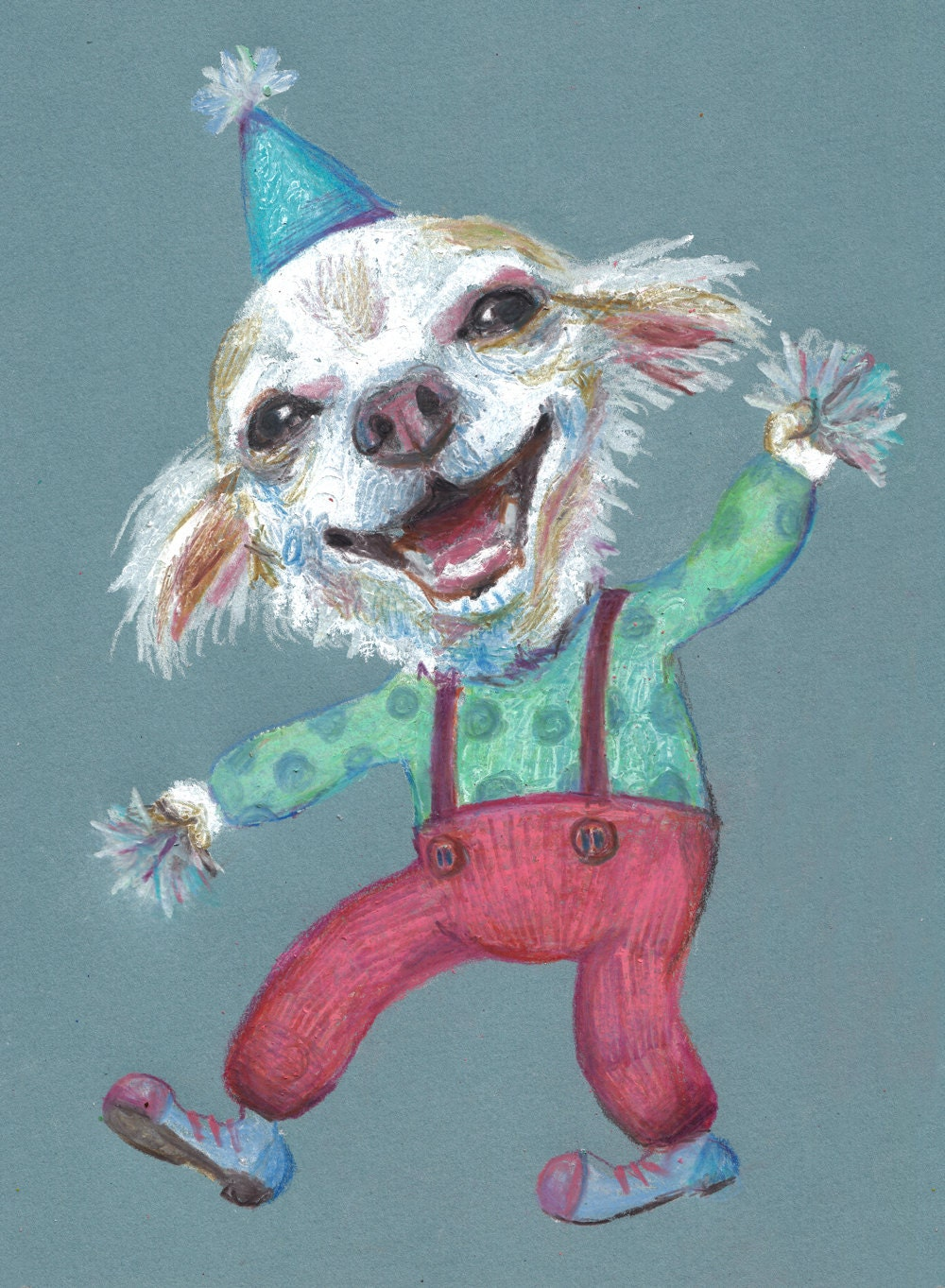 Clown Puppy dogs drawing dog drawing Colored pencil and