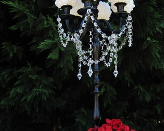 Princess Abigail Taper Style Wedding Candelabra with Floral Bowl MADE TO ORDER