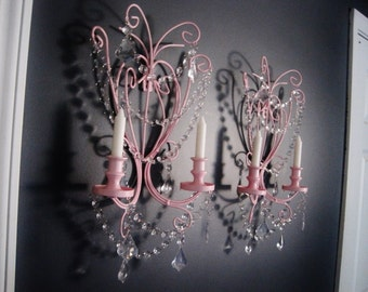 PAIR 2 Romantic Getaway Candle Wall Sconces in Soft Petal Pink Set of 2 MADE To ORDER