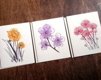spring flowers blank notecards set of 6