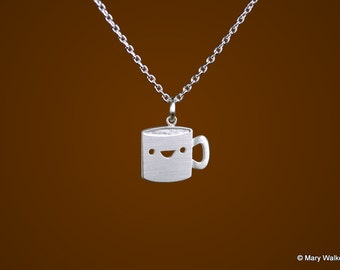 Happy Coffee Mug Necklace
