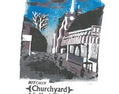 Hitchin Churchyard Lino and Letterpress Print- Poster
