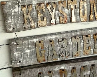 Personalized Reclaimed Wood Sign, Reclaimed Barnwood Sign, Rusty Metal Letters, Custom Farmhouse decor, Wedding Sign, Weathered Wooden Sign