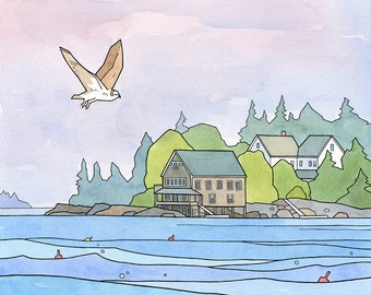 Osprey Art Print, Maine coast landscape, Hog Island, watercolor and ink illustration