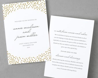Folded Program Template   Microsoft Word or Mac Pages   Gold Dots   Folded 5x7   100% Editable Text and Colors   MAC or PC   Print Yourself