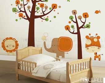 Sleepy Safari wall decal, Tree, Animal,  Elephant, Giraffe, Lion Kids Wall Decals Wall Sticker Wallpaper