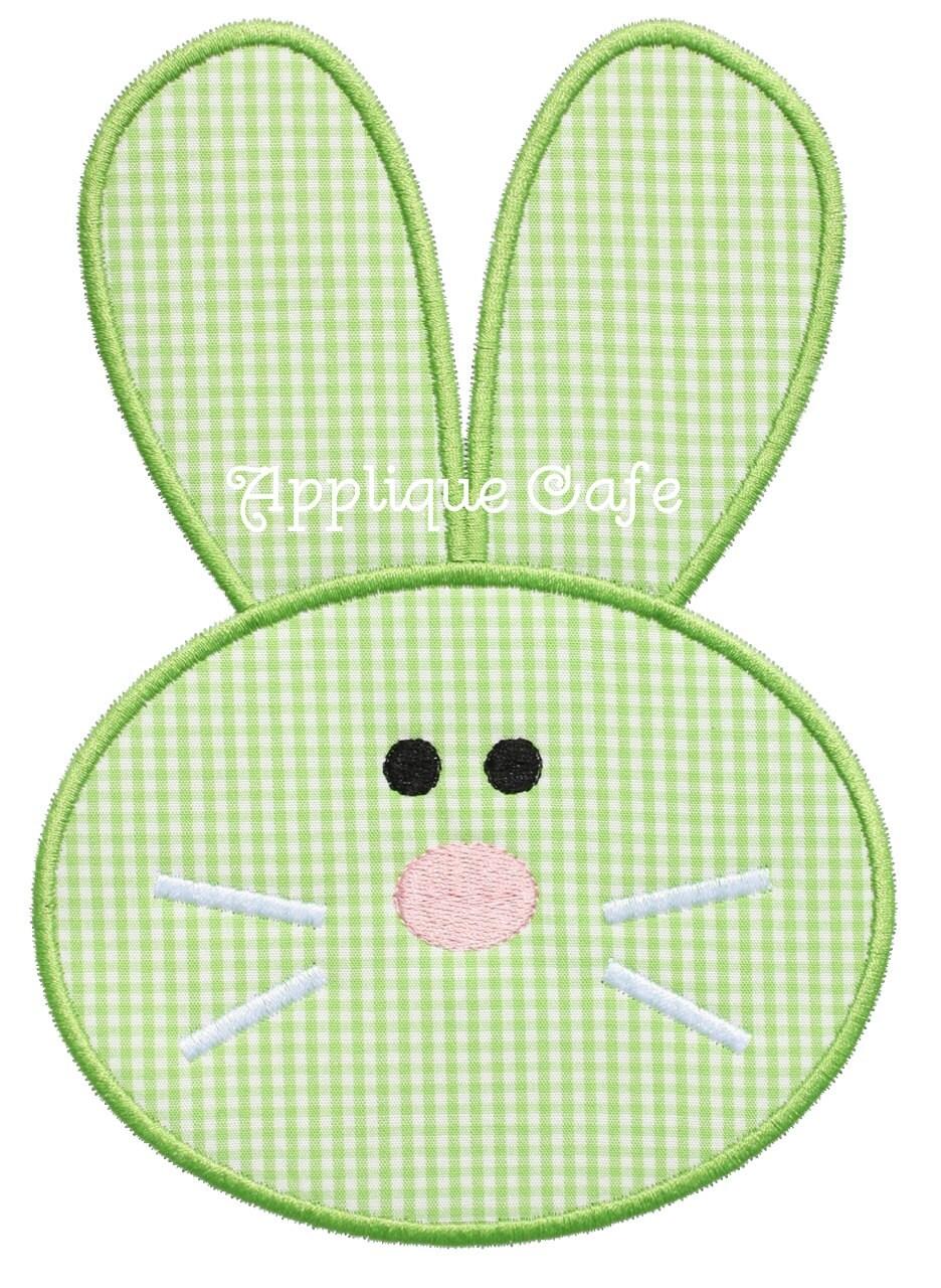 Bunny face embroidery applique design