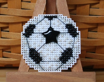 Soccer Ball Beaded Cross Stitch Ornament, Pin, or Magnet - Free U.S. Shipping