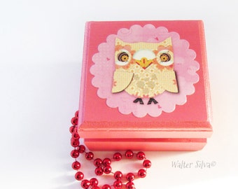 Baby Owl Wooden Box - Little Owl Jewelry Box Painted - Modern Child Jewelry Box - Back To School