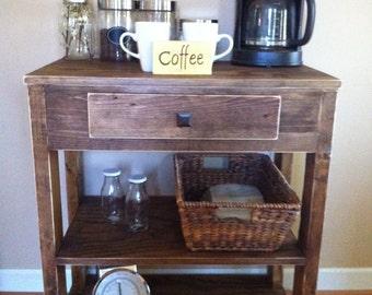 Coffee bar, rustic coffee bar, kitchen island, farmhouse decor, kitchen shelf, handmade furniture, entryway table, reclaimed wood