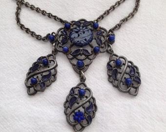 Festoon Necklace/Choker Carved Lapis