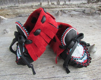 Baby Moccasins By Desi, Beaded, Soft deerskin leather, 3-6 months, Red, Girl, Boy, Native Inspired, First Walking soft soled shoes, Boho,