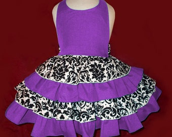 Custom Boutique Ruffled Purple and Damask Print Halter Dress, Sundress, Baby, Toddler, and Girl Sizes.