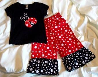 Little Girl's Polka Dot Lady Bug ladybug Ruffled T-Shirt & Polka Dot Ruffled Pant Set for Infant Baby Toddler and Girls