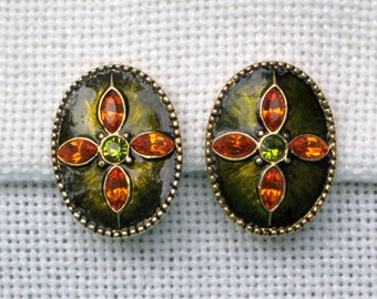 Clip Earrings Amber Brown Green Rhinestone Ovals Vintage 80s Costume Jewelry