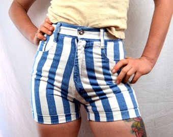 Vintage 80s Striped High Waisted Cotton Shorts