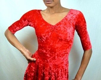 Vintage 1980s Red Velvet Dance Costume Leotard Mini Grunge Dress