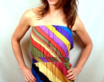 Fun Rainbow Striped Summer Strapless Sun Dress