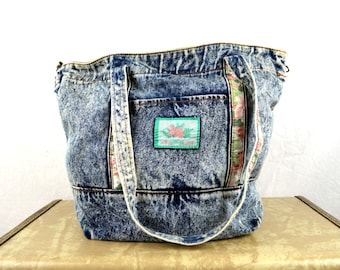 Vintage Acid Wash 80s Denim Tote Bag Purse -- Cherokee