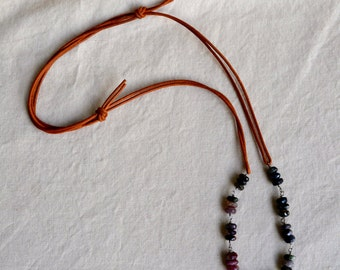 Greek leather adjustable necklace with watermelon tourmaline stones