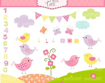 ON SALE birds clip art - 1 to10 number clip art, bunting clip art, Birds and Number, Kids birthday clip art, instant download Digital