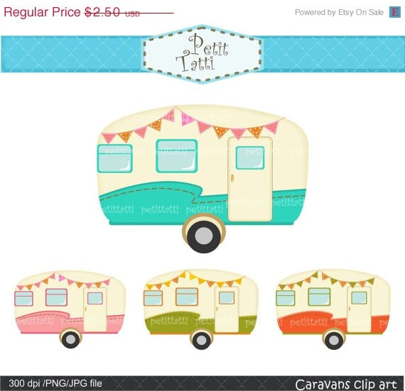 ON SALE Vintage Caravan Clipart Car Retro Caravans Campervan Camper Scrapbooking