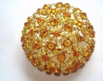Flowers Gold Tone Topaz  Rhinestone  Brooch