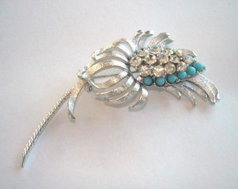 Signed Coro Flower Turquoise Blue Clear Rhinestone Brooch