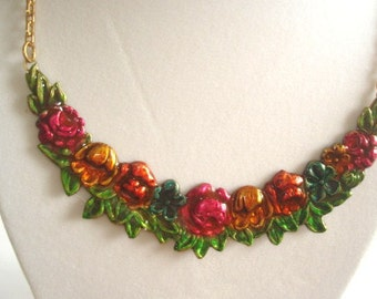 Flowers and  Leaf Pendant Necklace