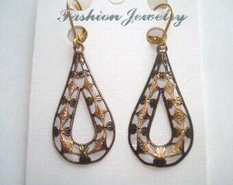 Filigree Dangle Earrings Gold tone