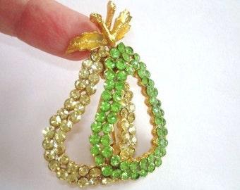 Signed Corocraft  Green  Rhinestone Pears  Brooch Gold Tone Vintage Jewelry
