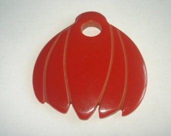 Vintage Red  Bakelite Jewelry Pendant