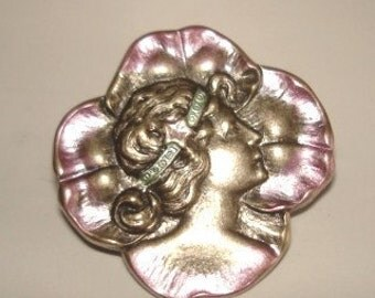 Lady Brooch Silver Rose Tones Repousse
