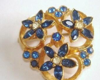 Blue Clear Rhinestone Brooch Gold  Tone.