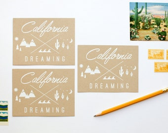 DISCONTINUED - California Dreaming Postcards - Set of 8 - Blank - kraft - recycled - rustic - postcards - greetings from - golden state